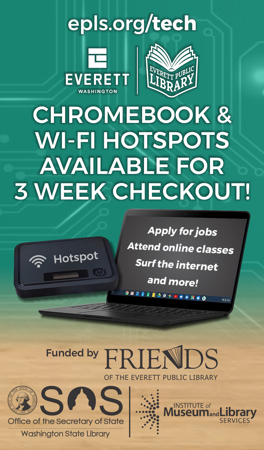 The Library has Chromebooks and Hotspots available for checkout.