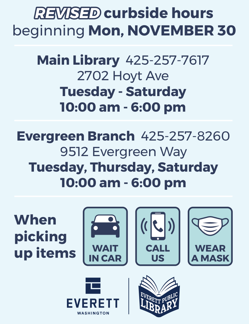The Library has new hours for Library service and Curbside Pickup of Library materials.